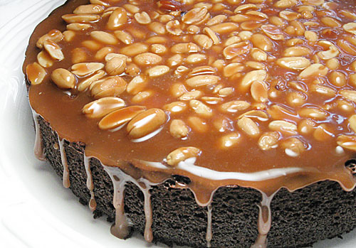 caramel-peanut-topped-brownie-cake1